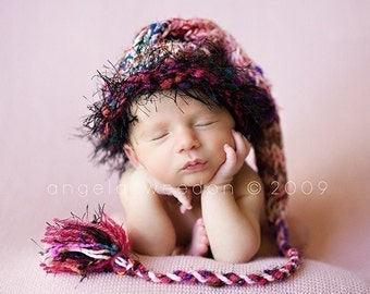 Knit Newborn Baby Girl Hat BaBY PHoTO PRoP Long Stocking Cap Pink Black SaRi SiLk Tassel Beanie FuZzy Brim CoMiNG HoME Unique Baby OZ Toque