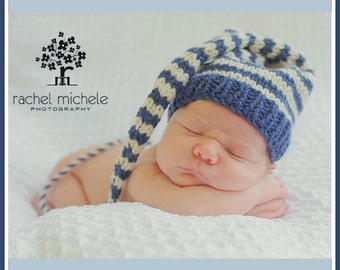 Newborn Boy BABY HAT PHoTO PRoP Stripe Munchkin Stocking Cap Long Tail denim blue ivory KNiT to ORDeR Toque PiCk CoLors Take Home Gift