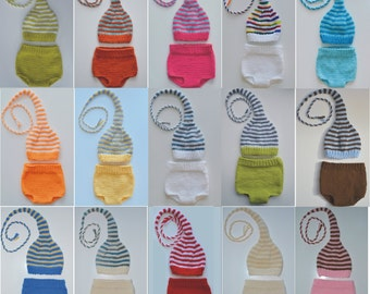 Boy Girl Newborn Knit Baby OUTFiT BaBY PHoTO PRoP Hat Diaper Cover SET Stripe Stocking Hat LoNG TAiL PiXIE ToQUE Pick Color MuNCHKiN Beanie