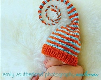 Newborn Knit Hat BaBY PHoTo PRoP Long Stocking Hat UNiSeX Orange Aqua Stripe BoY GiRL Coming Home ELF PiXie BeANiE Choose Color MuNCHKiN Hat