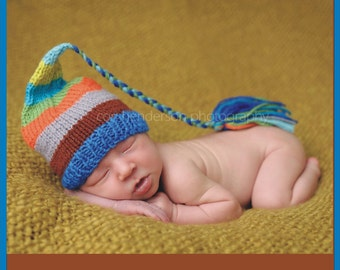 Newborn Baby Boy Hat PHoTO PRoP Knit LoNG TaSSeL BeANiE Cozy Stocking Cap CoMiNG HoME ToQUE Blue Brown Grey Orange Aqua Stripe CHooSE CoLOR