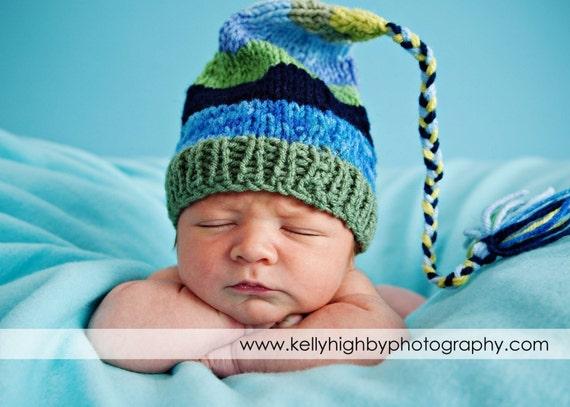 Newborn Knit Boy Hat BaBY PHoTO PRoP Blues Greens Stripes FCN Cap LoNG TaSSeL Stocking Cap SPoRTY BeANiE Choose Color CoMiNg HoME Pixie Hat