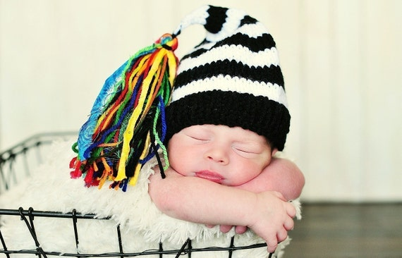 Newborn Knit Hat With Rainbow Tassle