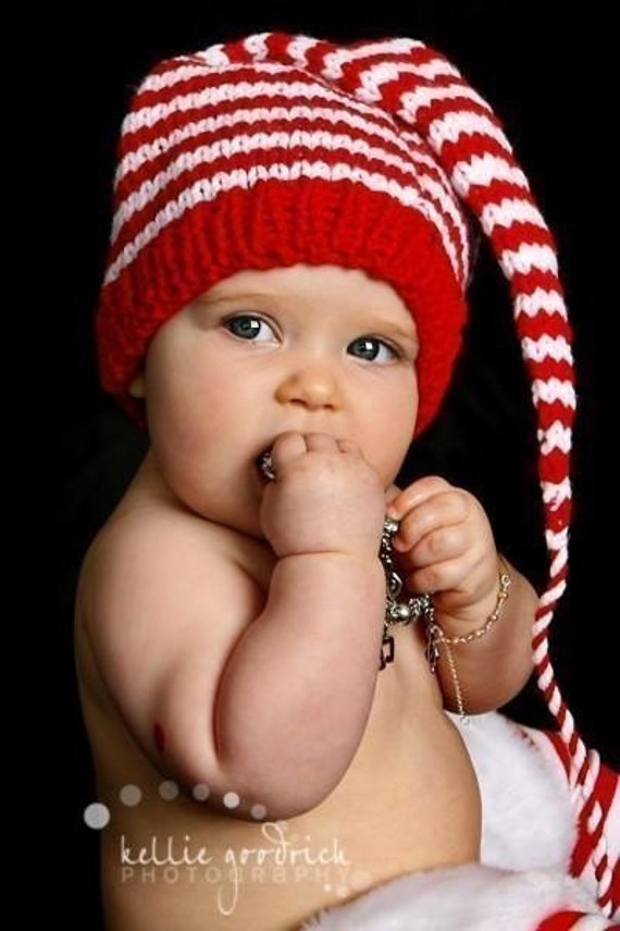 FEATURED WWW PARENTS COM - Funky Munchkins Baby Hat - Custom Knit to order - 6  to 12 months - Stocking Cap red and white stripes with long tail
