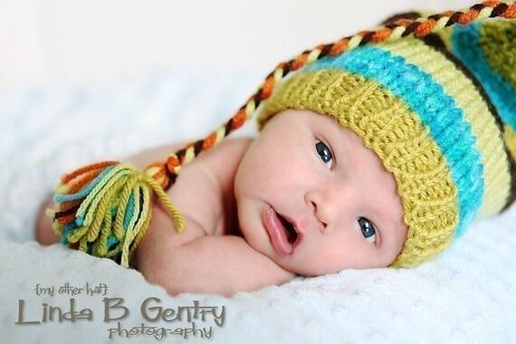 Baby Boy Knit Hat NeWBoRN PHoTO PRoP Long Tail Stocking Cap UNiSeX Stripe Beanie BeBOP Tassel ToQUE Lime Turquoise Brown Orange CHooSE CoLOR