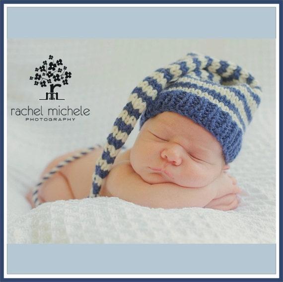 Newborn Boy BABY HAT PHoTO PRoP Stripe Munchkin Stocking Cap Long Tail denim blue ivory KNiT to ORDeR Toque PiCk CoLors Take Home Gift