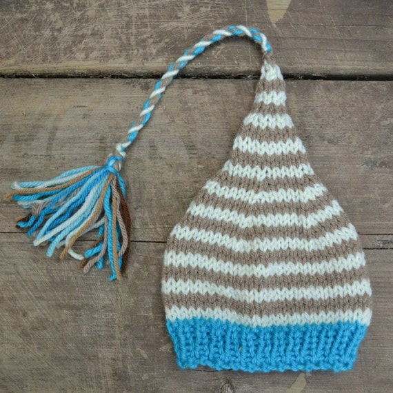 ReADY to SHiP Baby Photo Prop Newborn Boy Girl ELF TaSSeL BeANiE Unigender KNiT Turquoise w Ivory Taupe Pixie Fairy Sprite Cap
