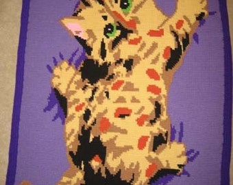 Hold On Kitty Hand Made Croched Afghan- BRAND NEW