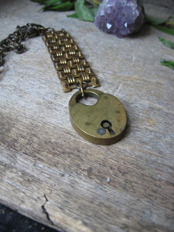 REDUCED handmade antique padlock lock necklace vintage old