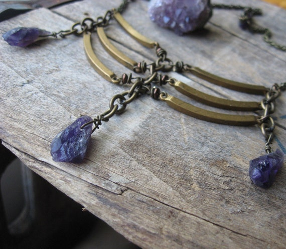 rib bones-- brass copper and amethyst battle necklace