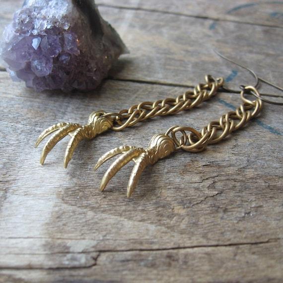 predator-- vintage claws in brass earrings