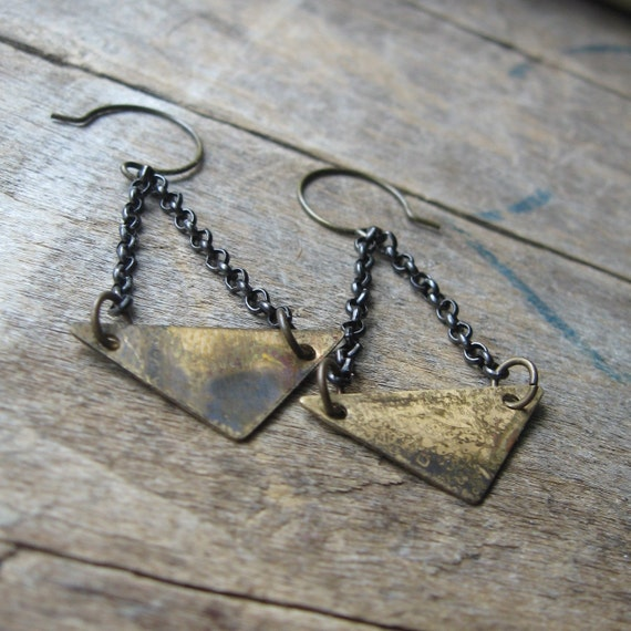 patina triangle trapeze earrings
