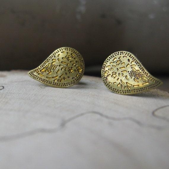 reduced-- paisley sterling silver earrings vintage brass teardrop bohemian post earrings