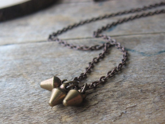 chubby baby spikes neckklace copper and brass