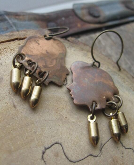 bullet bbs-- vintage girl heads with bullet dangle earrings