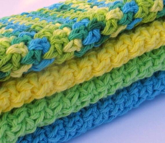 Crochet washcloths or dishcloths, 100% Cotton- set of 4 - Summer Breeze