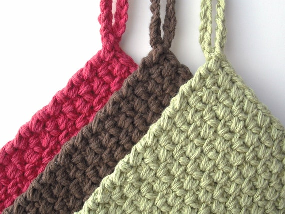 Crocheted Potholders - Set of 3 - Country Colors
