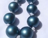 Big Bold Blue Bead Necklace -- SALE