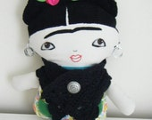 Beautifully made Fabric Frida Kahlo doll -  Reserved Listing - Shipping to Australia