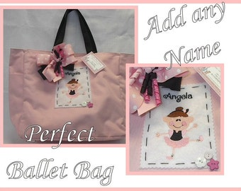 Boutique Monogrammed Ballet Bag -Ballerina Tote Bag-Personalized~Magnetic Closure