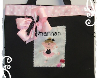 Boutique  Personalized Monogrammed Ballet Tote Bag-Ballerina