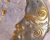 Silver Moon in Golden Twilight, Suncatcher - Ornament