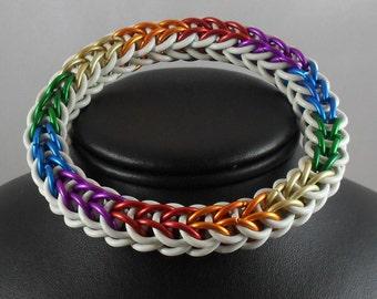 Bracelet: Progressive Rainbow with White Stretch