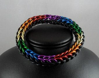Progressive Rainbow and Black Stretch Bracelet