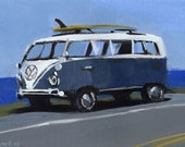 Art Print Retro VW Bus Surf Car - VW BUS Salted by David Lloyd
