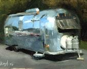 Art Print Retro Airstream Oil Painting - Airstream by David Lloyd