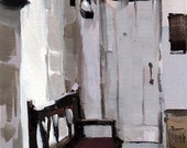 Art Print Interior Pale White Purple Bench - Bench by David Lloyd