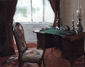 Art Print Writer Interior Writing Desk 9x12 on 11x14 - Bay Window with Writing Desk by David Lloyd