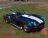 Art Print Cobra Blue Roadster Racecar Vintage Retro 9x12 on 11x14 - Cobra by David Lloyd