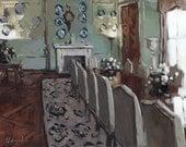 Art Print Elegant Olive Green Dining Room Light 9x12 on 11x14 - Dining Room with Decorative Plates by David Lloyd