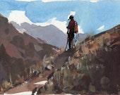Original Hiking Camping Trail Outdoor Landscape Sketch 5x7 Line and Wash - Trailsman by David Lloyd
