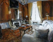 Art Print Interior Light Wood Panel Window 9x12 on 11x14 - Drawing Room by David Lloyd