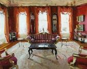 Art Print Interior Red Sofa Light Living Room 9x12 on 11x14 - Red Room by David Lloyd