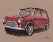 Original Painting Mini Cooper Vintage Auto Watercolor Sketch Drawing 5x7 Line and Wash - Red Mini Cooper by David Lloyd
