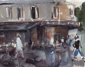 Art Print France City Street People Cafe Modern Painting Sketch - Rainy Day at Cafe France by David Lloyd