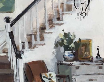 Art Print Interior White Natural Neutral Flower - Stairwell with Lounge Chair by David Lloyd