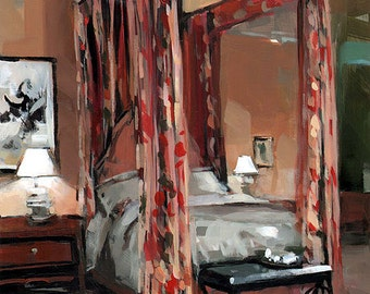 Art Print Floral Interior Curtains Bedroom 9x12 on 11x14 - Four Poster with Floral Curtains by David Lloyd