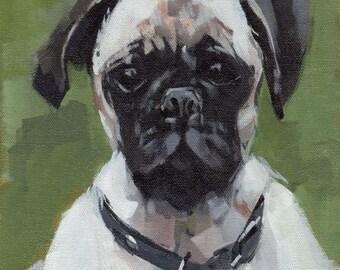 Animal Print Pug Dog  9x12 on 11x14 - Pug by David Lloyd