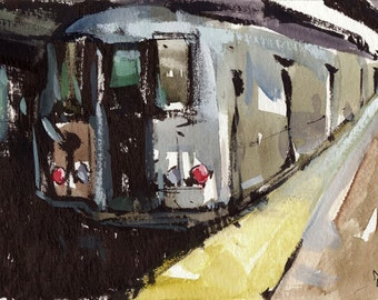Art Print Subway New York Urban Metro Modern Painting Sketch - The Train by David Lloyd