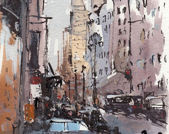 Art Print City Street People Modern Painting Sketch - Bustle by David Lloyd