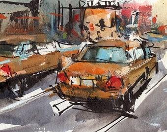 Art Print Taxi New York Urban Metro Modern Painting Sketch - Taxis by David Lloyd