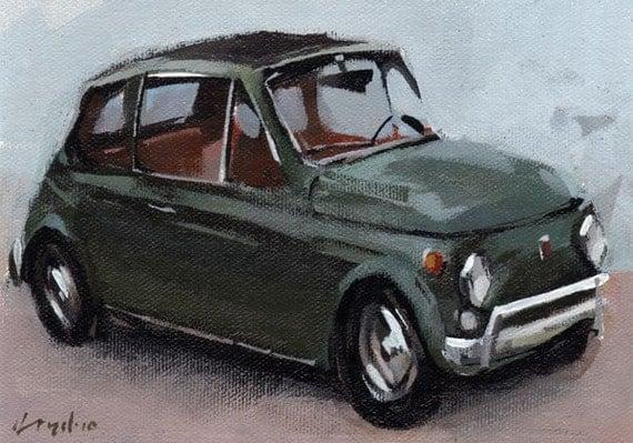 Car Art Print Retro Fiat 500 Green - Fiat 500 by David Lloyd