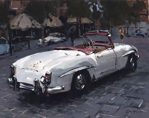 Art Car Classic Print Vintage Auto Roadster Mercedes 9x12 on 11x14 - Mercedes Roadster by David Lloyd