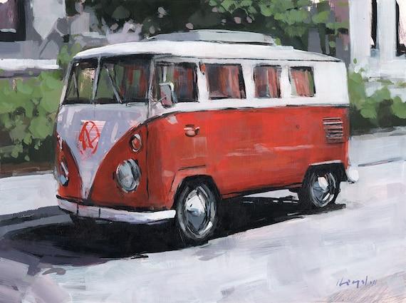 Art Print 70's Geekery Van Orange Hippie Van 9x12 on 11x14 - Orange VW Bus by David Lloyd