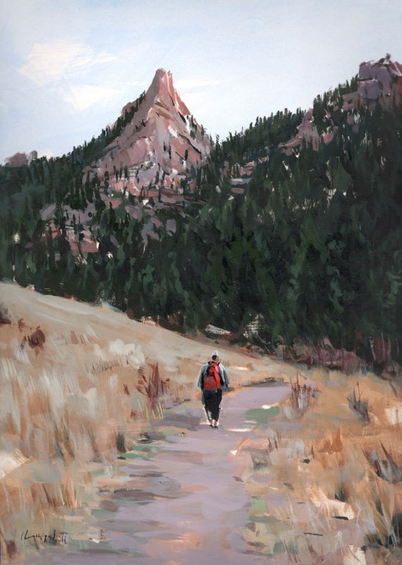Art Print Hike Camp Landscape Outdoors 9x12 on 11x14 - On the Trail by David Lloyd