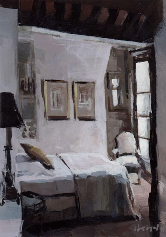 Art Print Paris France French Natural Neutral Light Bedroom Romantic - Parisian Bedroom by David Lloyd